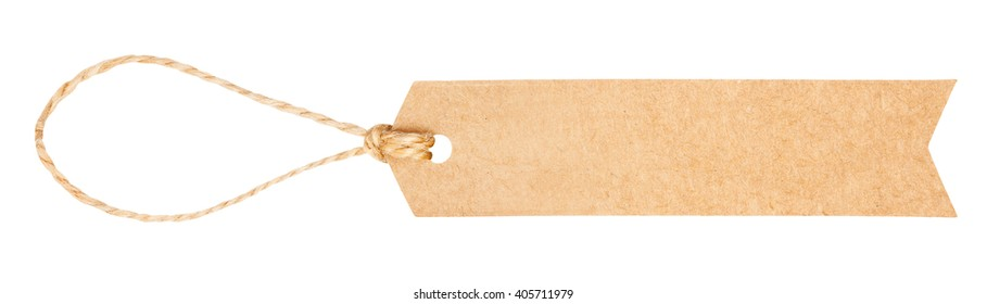 Kraft cardboard label with string isolated on white background