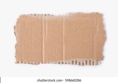 Kraft cardboard signboard. Cardboard ripped edge. Paper background