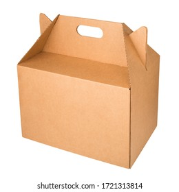 Kraft corrugated cardboard box with handle isolated on a white background