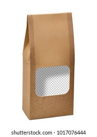 Kraft or craft paper pack mock up / mockup with transparent window isolated on white background including clipping path