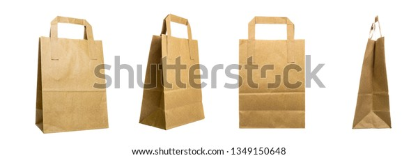 Kraft grocery paper bags isolated on a white background, rotational, all sides view