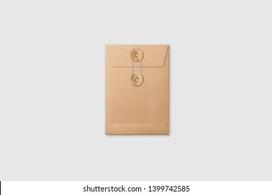 Kraft Paper A6/C6 size String and Washer Envelope Mockup on light grey background. High resolution.