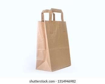 Kraft paper bag isolated on white background, side view