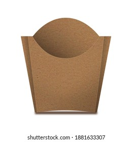 Kraft Paper French Fries Medium Size Packaging Box – Front View. Fast-food paper packaging box for french fries, fried potato chips, fried chicken and similar food.