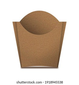 Kraft Paper French Fries Medium Size Packaging Box – Front View. Fast-food paper packaging box for french fries, fried potato chips, fried chicken and similar food. - Shutterstock ID 1918945538