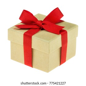 Kraft paper gift box tied with festive ribbon isolated on white
