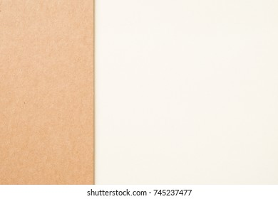 Kraft paper sheet overlap with brown and white colors for background, banner, presentation template.