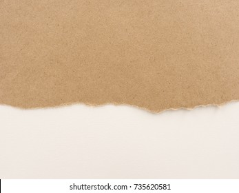 kraft paper torn edge. piece of paper isolated on white