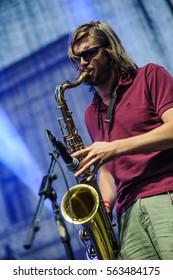 Kragujevac, Arsenal Fest - July 27th: Saxophone player of Serbian rock band Ucuti Pas performing on Arsenal Fest 2013 held in Kragujevac, Serbia