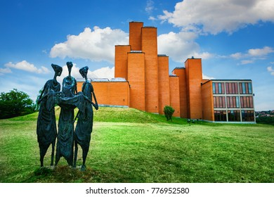 """Kragujevac, Serbia - 17 July, 2016: The sculpture The Destiny tellers in front of Memorial museum and park """"21 October"""" in Kragujevac, Serbia"""