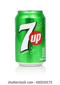 Kragujevac, Serbia - April 25, 2016: 7 UP can on white background. This refreshment drink produce Pepsi company.