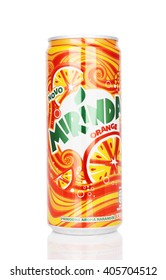 Kragujevac, Serbia - April 5th, 2016: Mirinda can isolated on white background. Mirinda produced by PepsiCo Inc.