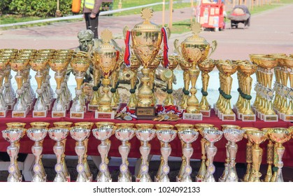 Kragujevac, Serbia - April 9, 2017: Dog trophies and medals on the table. C.A.C.I.B