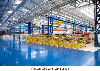 KRAGUJEVAC, SERBIA - CIRCA APRIL 2012: industrial building interior at Fiat Cars Serbia factory.
