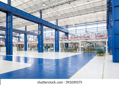 KRAGUJEVAC, SERBIA - CIRCA APRIL 2012: industrial building interior at Fiat Cars Serbia factory.