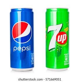 Kragujevac, Serbia - February 1th, 2017: Pepsi and 7up cans isolated on white background