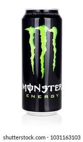 Kragujevac, Serbia: February 21,2018: Monster energy drink isolated on white background