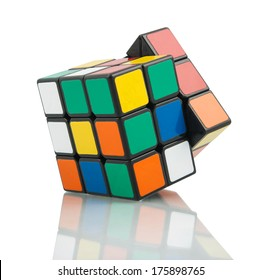 KRAGUJEVAC, SERBIA - FEBRUARY 8, 2014: Rubik's classic cube on the white background. Rubik's Cube invented by a Hungarian architect Erno Rubik in 1974.