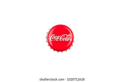 Kragujevac, Serbia - February 8, 2017: classic cap close-up of Coca-Cola on white background