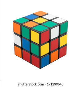 KRAGUJEVAC, SERBIA - JANUARY 14, 2014: Rubik's cube on the white background. Rubik's Cube on a white background. Rubik's Cube invented by a Hungarian architect Erno Rubik in 1974.