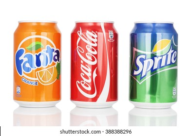 Kragujevac, Serbia - January 19th, 2016: Coca Cola,Fanta and Sprite can isolated on white background
