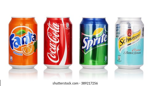 Kragujevac, Serbia - January 19th, 2016: Coca Cola,Fanta,Sprite and Schweppes cans isolated on white background