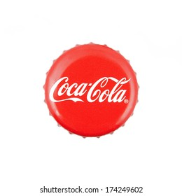Kragujevac, SERBIA - January 27, 2014: Coca-Cola classic cap on white background. Coca-cola is the World's most selling carbonated soft drink.