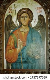 Kragujevac, Serbia, March 10, 2021. Interior of the Orthodox Church, icons of Saints