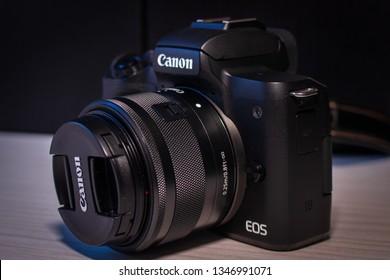 Kragujevac / Serbia - mart 22 2019: Canon eos m50 digital mirrorless camera with kit lens