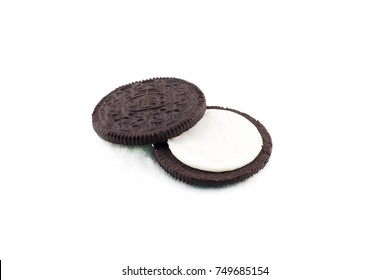 KRAGUJEVAC, SERBIA - November 6, 2017: Oreo cookie isolated on white background. Oreo is consisting of two chocolate wafers with a sweet creme filling in between. Oreo made by Mondelez International.