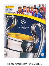 KRAGUJEVAC, SERBIA - OCTOBER 14, 2014: Panini UEFA  Champions League 2014-15 official sticker album