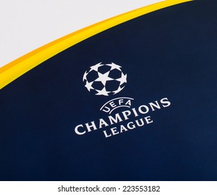 KRAGUJEVAC, SERBIA - OCTOBER 14, 2014: The logo of the UEFA Champions League printed on official Panini sticker album