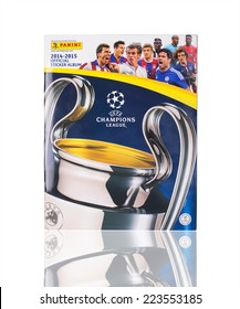 KRAGUJEVAC, SERBIA - OCTOBER 14, 2014: Panini UEFA Champions League 2014-2015 official sticker album