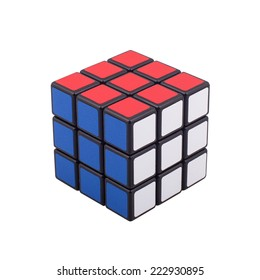 KRAGUJEVAC, SERBIA - OCTOBER 7, 2014: Rubik's classic cube on the white background. Rubik's Cube invented by a Hungarian architect Erno Rubik in 1974.