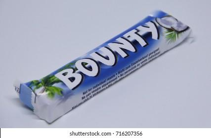 Kragujevac, Serbia - September 16, 2017: Bounty chocolate bar is a brand of American  Mars, Inc.