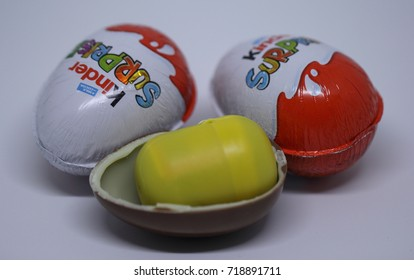 Kragujevac, Serbia - September 16, 2017: Kinder Surprise, also known as a Kinder Egg is a brand of Italian confectionery multinational Ferrero S.p.A.