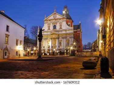KRAKOW - DECEMBER 16: City center by night: Saints Peter and Paul Church, Krakow, Poland on December 16, 2013.