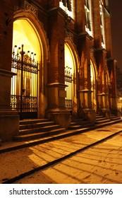 KRAKOW - JANUARY 02: Historic city centre of Krakow by night. Main building of Jagiellonian University. Krakow, Poland on January 02, 2011.