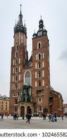 Krakow, Lesser Poland / Poland - Feb 02 2018: St. Mary's basilica in main square of Krakow.