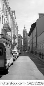 Krakow, Malopolskie, Poland - June 15 2019 : sommer day in Krakow on black and white photos.