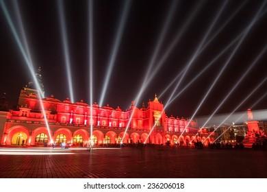 Krakow market square - a light show over Sukiennice buliding