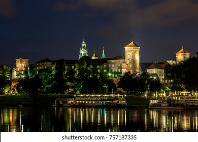 Krakow at night. Wawel Castle and Wistula. Krakow Poland.