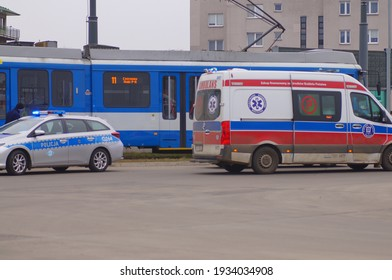 Krakow, Poland - 03.11.2021: Accident involving streetcar and passenger - police, medical and traffic police cars. The place of the incident in Krakow - streetcar terminus Małe Płaszów.