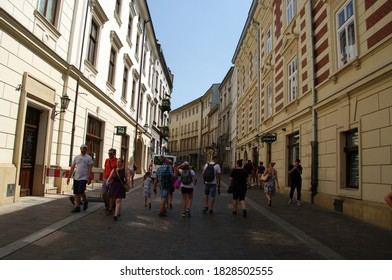 KRAKOW, POLAND - 04 August 2018 view of streets in old city center