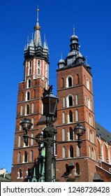 KRAKOW POLAND 09 19 17: Church of Our Lady Assumed into Heaven also known as Saint Mary's Church is a Brick Gothic church adjacent to the Main Market Square in Krakow, Poland.