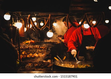 KRAKOW, POLAND, 15 DECEMBER 2018 - christmas time, grilled meat and Kielbasa is sold on the street