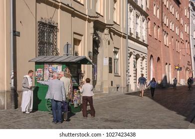 KRAKOW / POLAND - 2012: Morning at newspaper kiosk in the old town
