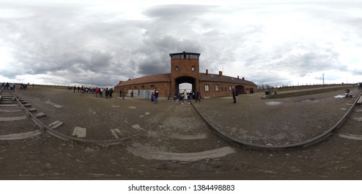 Krakow Poland 20th April 2019: 360 Degree panorama image of Auschwitz Concentration Camp Nazi camps extermination camps built and operated by Nazi Germany in during World War II and the Holocaust