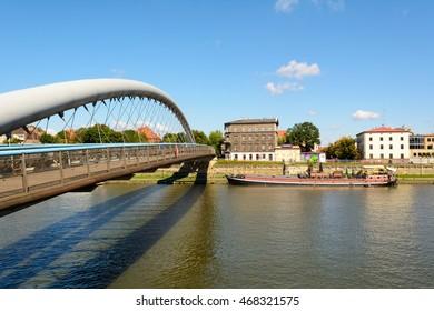 Krakow, Poland, 7 August, 2016. The Father Bernatek Footbridge over Vistula river, Cracow, Poland. Europe