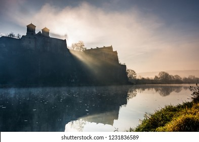 Krakow, Poland, abbey in Tyniec misty sunrise